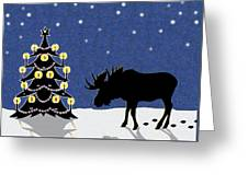 Candlelit Christmas Tree And Moose In The Snow Greeting Card