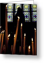Candles Burning Inside The Basilica Of The Saint Sauveur Greeting Card