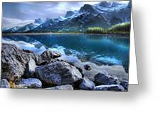 Canmore Reservoir Under A Setting Sun Greeting Card