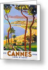 Cannes Vintage Travel Poster Greeting Card