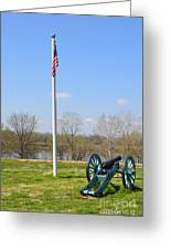 Cannon And Flagpole Overlooking River Greeting Card