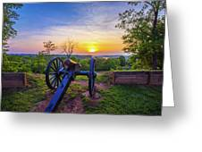 Cannon At Sunset Greeting Card