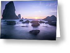Cannon Beach Rocks Sunset Greeting Card