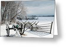 Cannon Under Snow Greeting Card