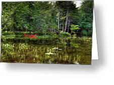 Canoe Among The Reeds Greeting Card