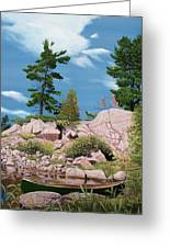 Canoe Among The Rocks Greeting Card