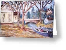 Canoe And Bridge Greeting Card