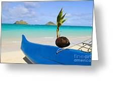 Canoe And Coconut Greeting Card