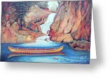 Canoe And Waterfall Greeting Card