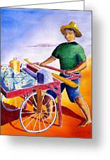 Canoe Fisherman With Cart Greeting Card