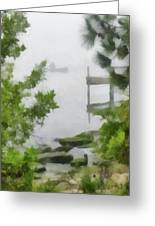 Canoe In Lake Fog Greeting Card