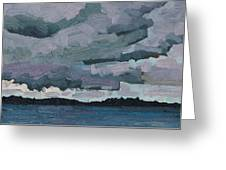 Canoe Lake Rain Clouds Greeting Card