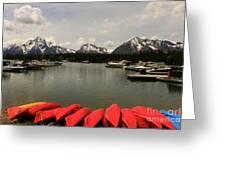 Canoe Meeting At Jackson Lake Greeting Card