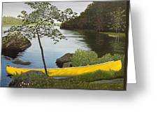 Canoe On The Bay Greeting Card