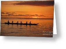 Canoe Paddlers Silhouette Greeting Card