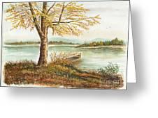 Canoe Tied By Tree Greeting Card