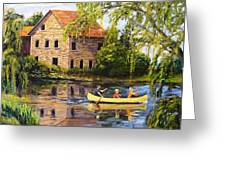 Canoeing Past The Mill Greeting Card