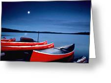 Canoes And Moon 87 Greeting Card