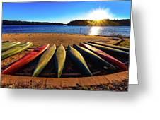 Canoes At Sunset Greeting Card