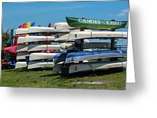 Canoes Cascaded Greeting Card