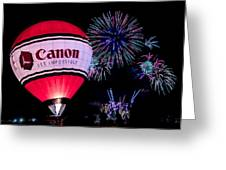 Canon - See Impossible - Hot Air Balloon With Fireworks Greeting Card