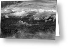 Canyon In Clouds Bw Greeting Card