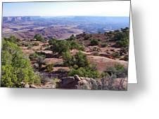 Canyonlands Park Utah Blue To Green Vista Greeting Card
