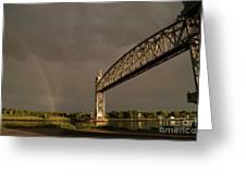 Cape Cod Train Bridge With Rainbow Greeting Card