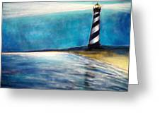 Cape Hatteras Lighthouse Night Glow Greeting Card