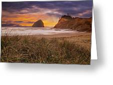 Cape Kiwanda In Pacific City Beach At Sunset Greeting Card