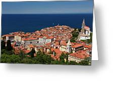Cape Madonna At Point Of Piran Slovenia On Blue Adriatic Sea Wit Greeting Card