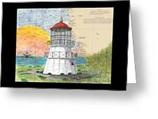 Cape Mendocino Lighthouse Ca Nautical Chart Map Greeting Card