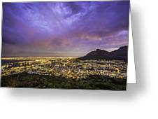 Cape Town From Signal Hill At Sunset Greeting Card