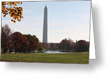 Capital Autumns - The Washington Monument - Under The Trees Greeting Card