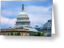 Capitol Over The Botanical Garden Greeting Card