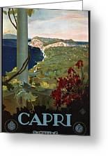 Capri, Italia - Bay Of Naples, Italy - Retro Travel Poster - Vintage Poster Greeting Card