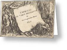 Capricci Di Varie Battaglie (title Page) Greeting Card