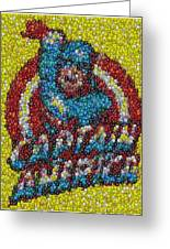 Captain America Mm Mosaic Greeting Card by Paul Van Scott