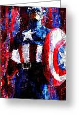 Captain America Signed Prints Available At Laartwork.com Coupon Code Kodak Greeting Card by Leon Jimenez