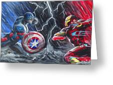 Captain American Vs Ironman Greeting Card