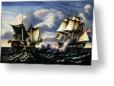 Capture Of H.b.m. Frigate Macedonian By U.s. Frigate United States, October 25, 1812  Greeting Card