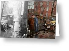 Car Accident - Watch For Ice 1921 - Side By Side Greeting Card