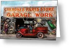 Car - Garage - Cherokee Parts Store - 1936 Greeting Card