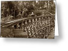 Car On A Wooden Railroad Trestle Circa 1916 Greeting Card