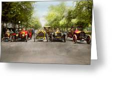 Car - Race - Hold On To Your Hats 1915 Greeting Card