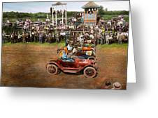 Car - Race - On The Edge Of Their Seats 1915 Greeting Card