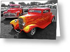Car Show Fever - 54 Chevy With A 32 Ford Coupe Hot Rod Greeting Card