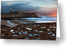 Fort In Carcavelos Beach Greeting Card