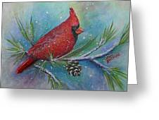 Cardinal And Delta Snow Greeting Card