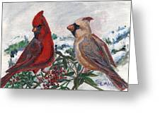 Cardinal Berries Greeting Card